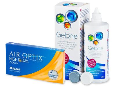 Air Optix Night and Day Aqua (6čoček) +roztokGelone360ml - Výhodný balíček