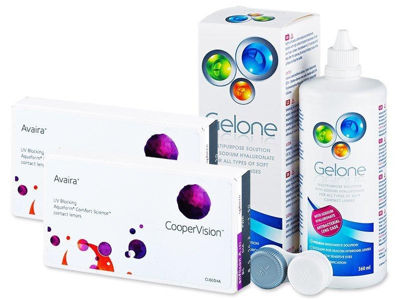 Avaira (2x3 čočky) +roztokGelone360ml - Výhodný balíček