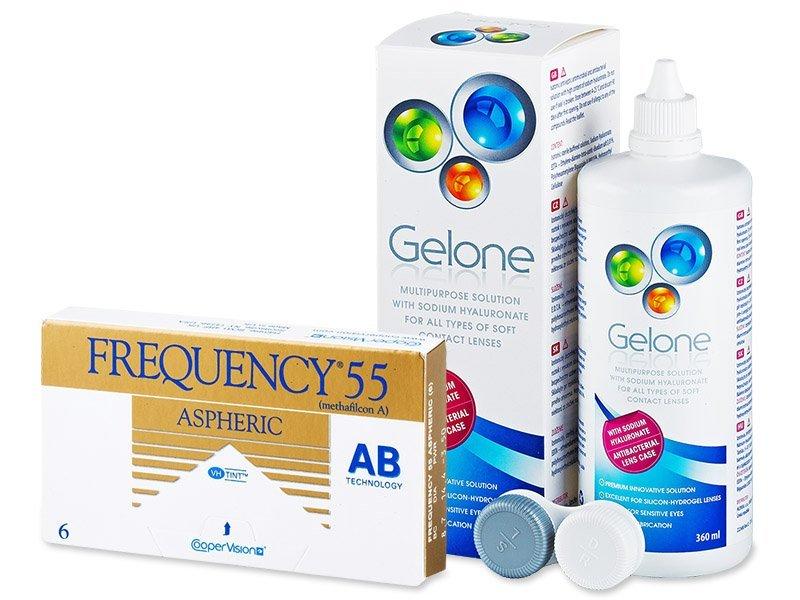 Frequency 55 Aspheric (6čoček) +roztokGelone360ml - Výhodný balíček