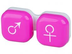 Pouzdra na kontaktní čočky - Pouzdro na čočky muž a žena - růžové