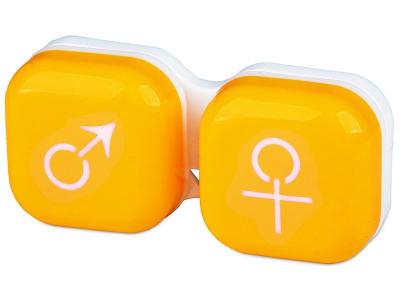 Pouzdro na čočky muž a žena - žluté