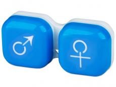 Příslušenství - Pouzdro na čočky muž a žena - modré