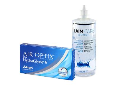 Air Optix plus HydraGlyde (3 čočky) + roztok Laim-Care 400 ml