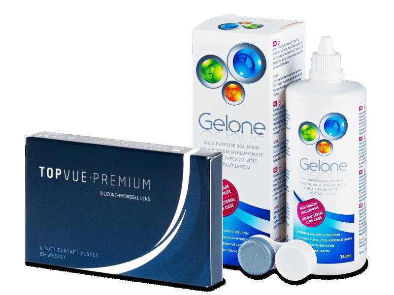 TopVue Premium (6čoček) +roztok Gelone 360 ml - Výhodný balíček