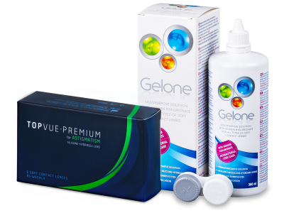 TopVue Premium for Astigmatism (6čoček) +roztok Gelone 360 ml