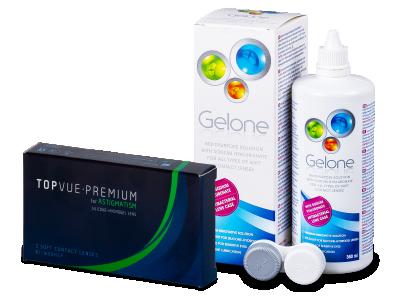 TopVue Premium for Astigmatism (3 čočky) +roztok Gelone 360 ml